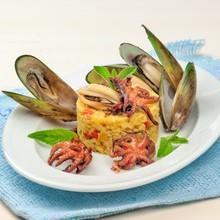 Ризотто с моллюсками ананасом и мятой